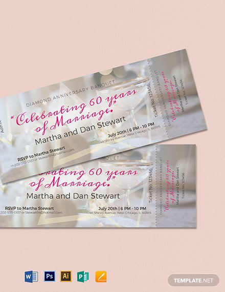 Anniversary Banquet Ticket Template