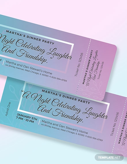 Sample Dinner Party Ticket
