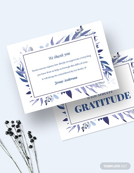 Sample Bereavement Thank You Card