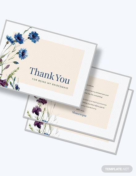 Bridesmaid Thank You Card Download