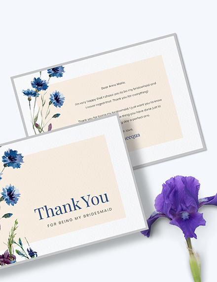 Sample Bridesmaid Thank You Card
