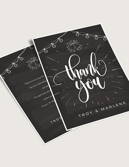 Chalkboard Wedding Thank You Card Download