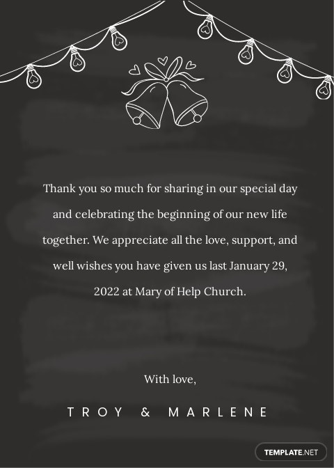 Chalkboard Wedding Thank You Card Template [Free JPG] - Illustrator, Word, Apple Pages, PSD, Publisher