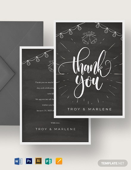Chalkboard Wedding Thank You Card Template