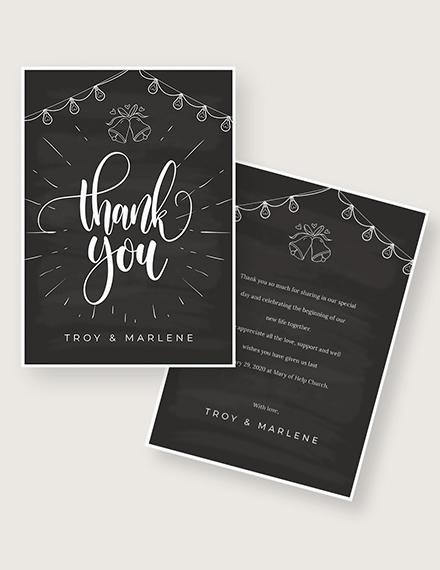Sample Chalkboard Wedding Thank You Card