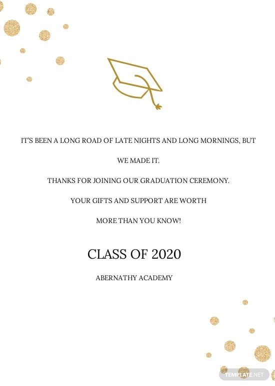 College Graduation Thank You Card Template [Free JPG] - Illustrator, Word, Apple Pages, PSD, Publisher