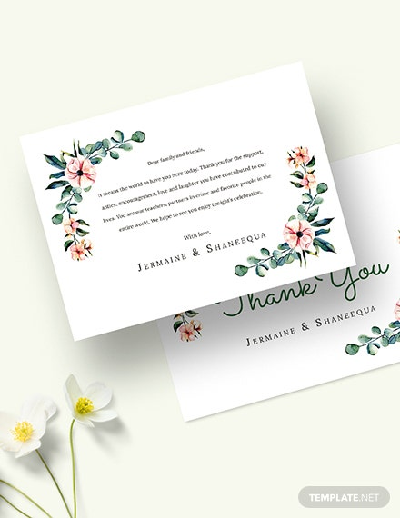 Sample Engagement Thank You Card