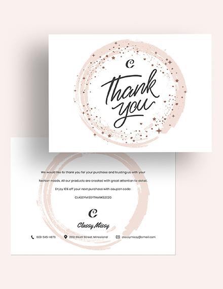 Fashion Thank You Card Download