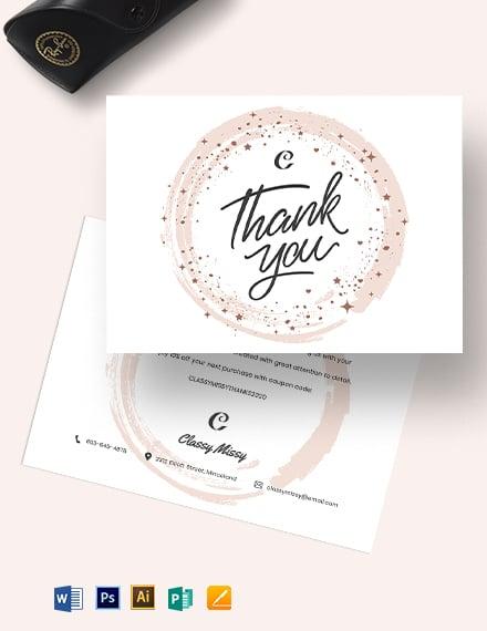 Fashion Thank You Card Template