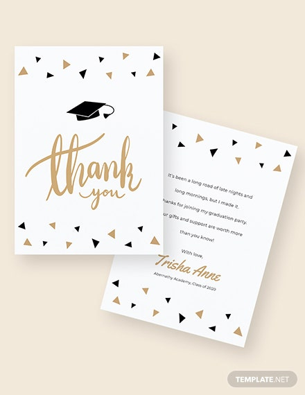 Sample Graduation Party Thank You Card