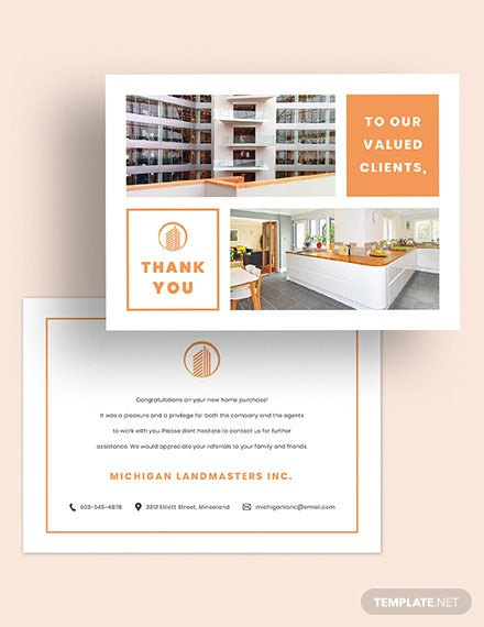 Real Estate Business Thank You Card Download
