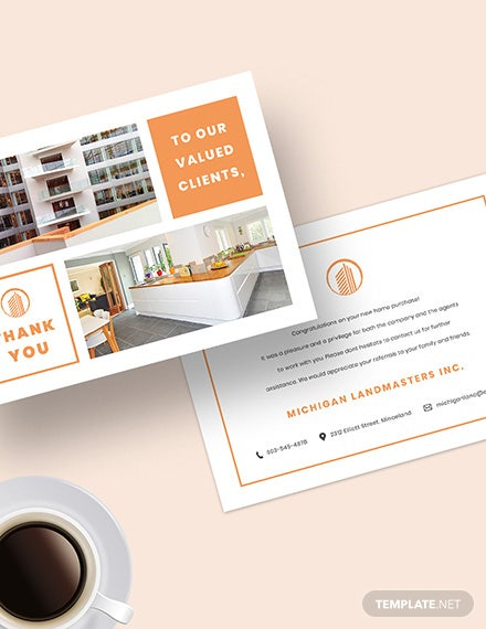 Sample Real Estate Business Thank You Card