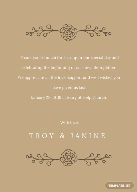 Rustic Wedding Thank You Card Template [Free JPG] - Illustrator, Word, Apple Pages, PSD, Publisher