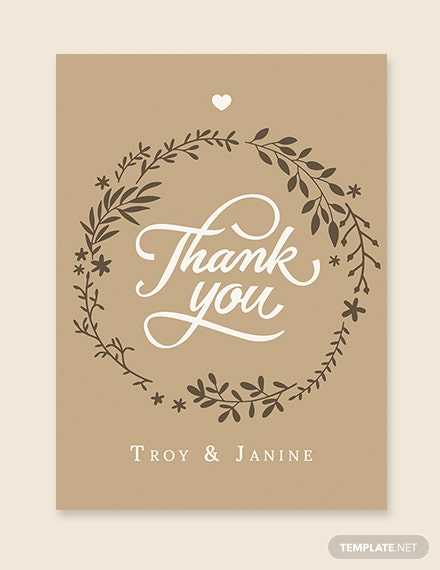 Rustic Wedding Thank You Card Template