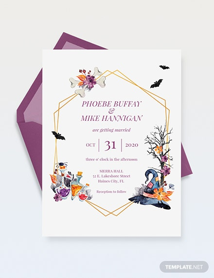 halloween wedding invitation template 1