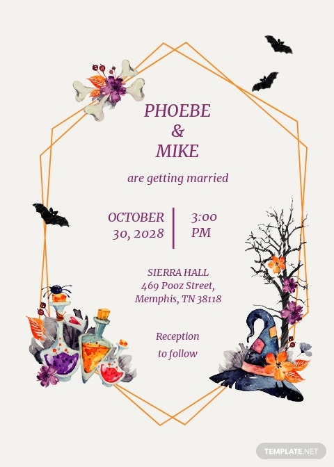 Halloween Wedding Invitation Template