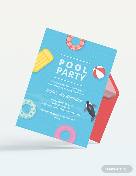Sample kids pool party invitation