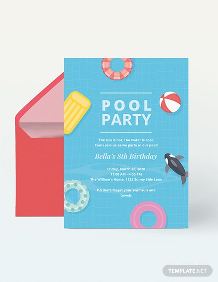 kids pool party invitation Download
