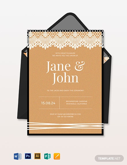 lace wedding invitation template 1
