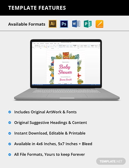 Editable luau baby shower invitation