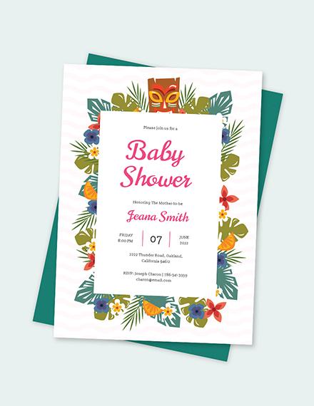 Sample luau baby shower invitation