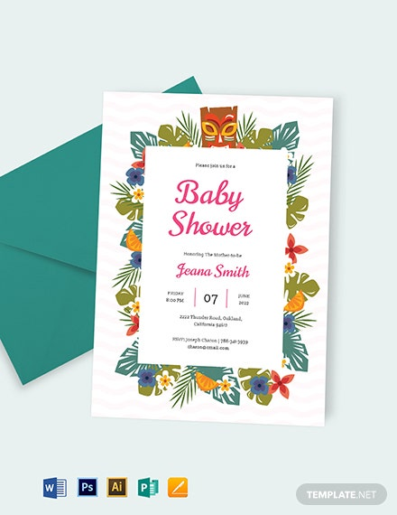 Luau Baby Shower Invitation Template