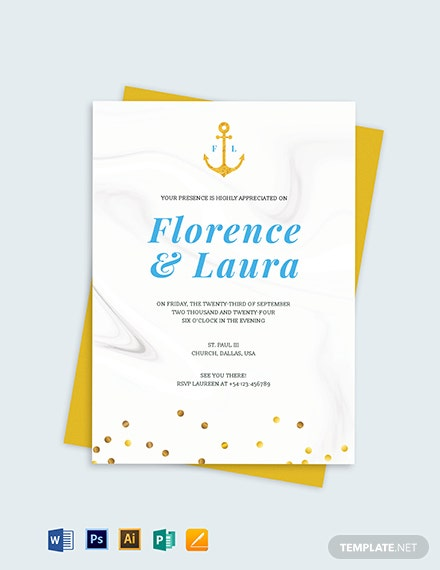 nautical wedding invitation template 1