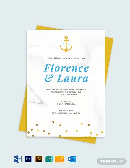 Nautical Wedding Invitation Template