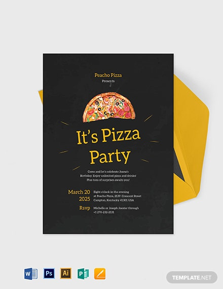 pizza party invitation template 1