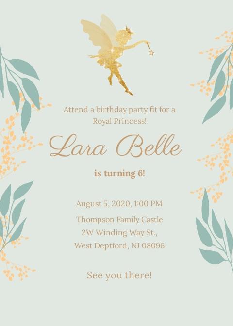 Princess Birthday Party Invitation Template