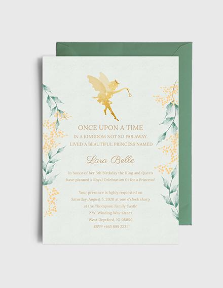 Sample princess birthday party invitation