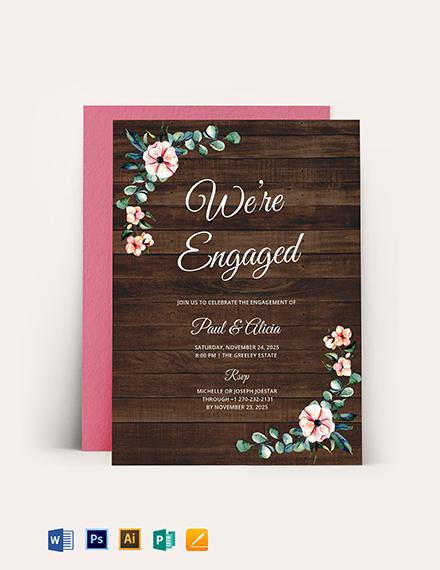 Rustic Engagement Invitation Template
