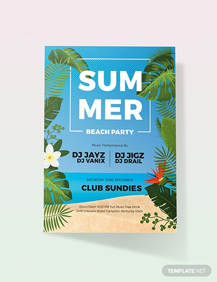 Sample Summer Beach Party Invitation