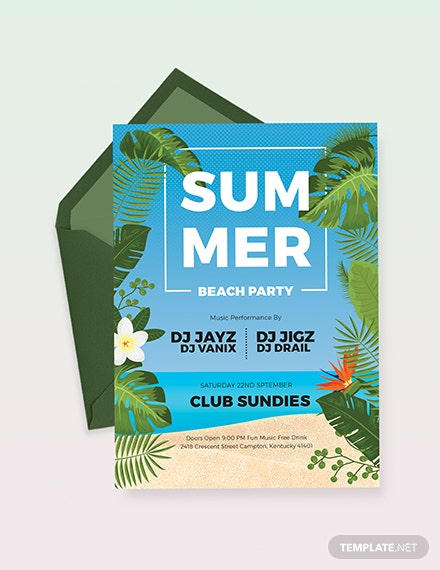 Summer Beach Party Invitation Download