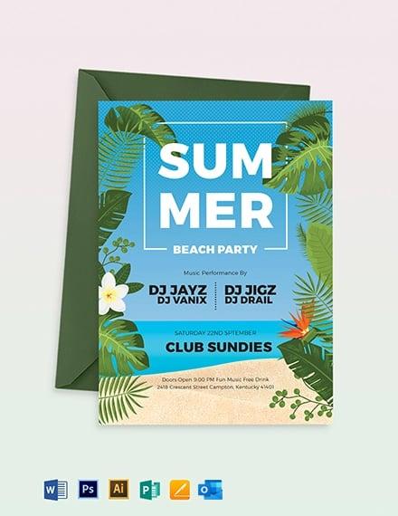 Summer Beach Party Invitation Template