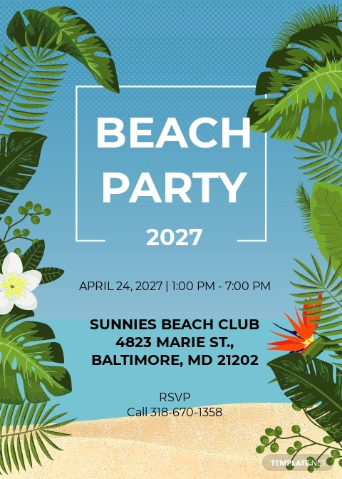 Summer Beach Party Invitation Template
