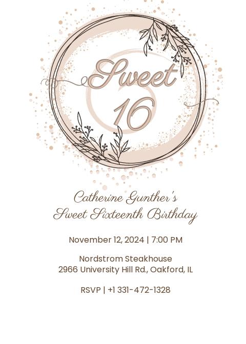 Sweet 16 Birthday Invitation Template.jpe