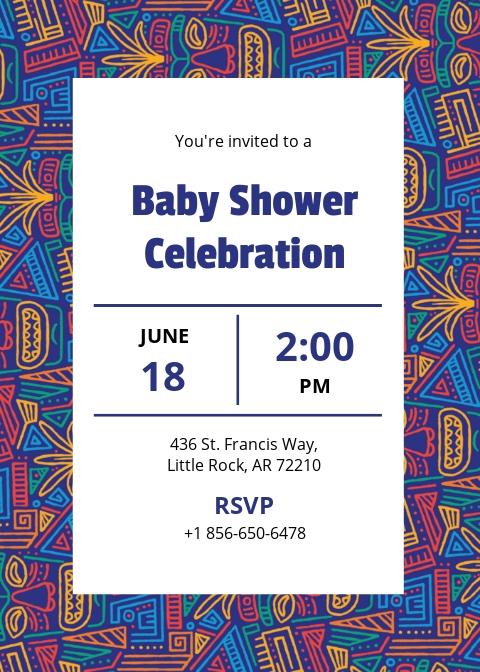 Tribal Baby Shower Invitation template