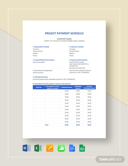 Project Payment Schedule Template