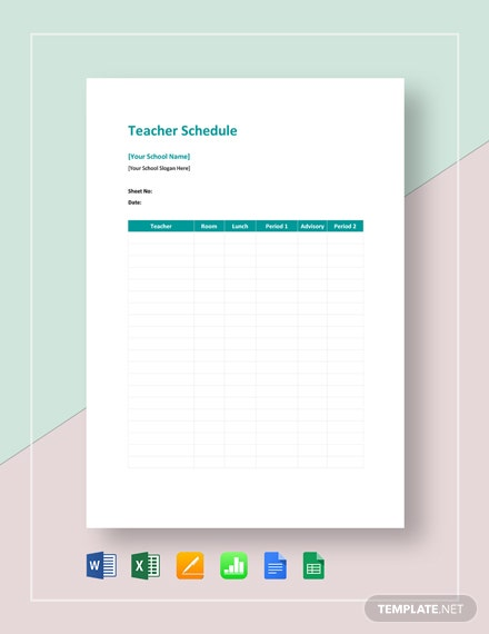 Teacher Schedule Template