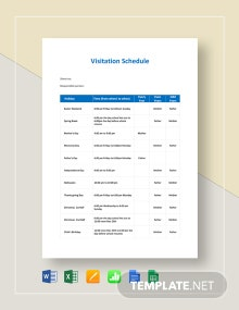 Visitation Schedule Template