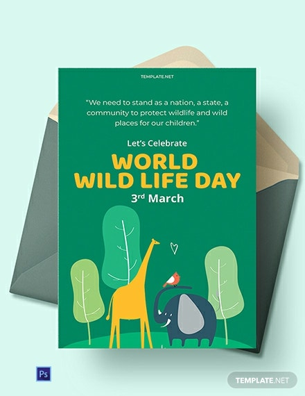 Free World Wild Life Day Greeting Card Template