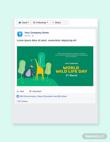 Free World Wild Life Day Facebook Post Template