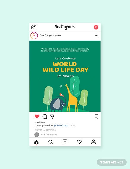Free World Wild Life Day Instagram Post Template