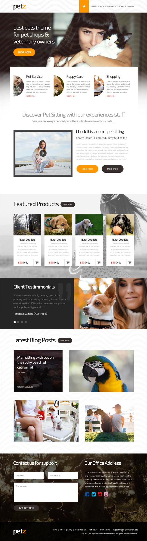 Free Pet Shop PSD Website Template