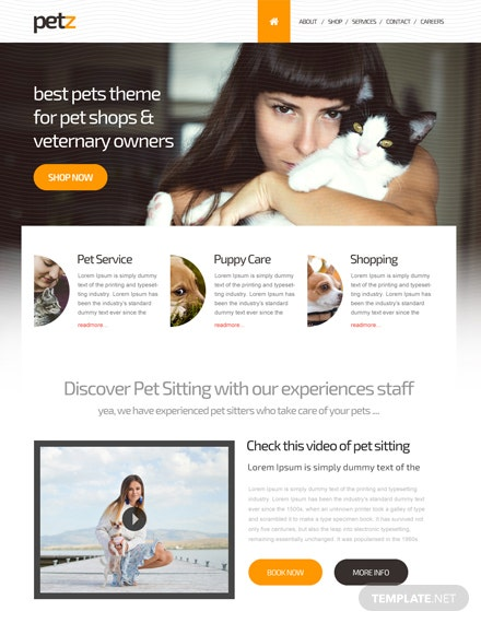 Free Pet Shop PSD Website Template