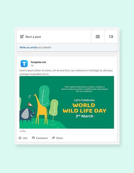 Free World Wild Life Day Linkedin Post Template