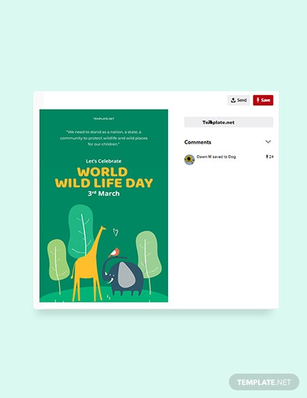 Free World Wild Life Day Pinterest Pin Template