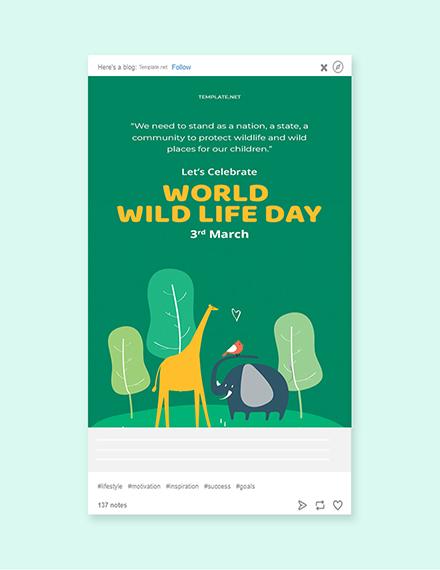 Free World Wild Life Day Tumblr Post Template