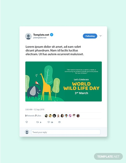 Free World Wild Life Day Twitter Post Template